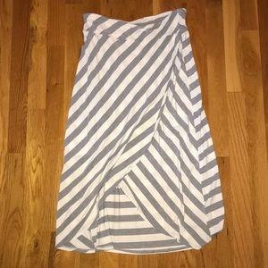 Athleta Gray and White Striped Maxi Skirt